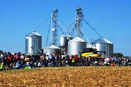 Crowd watching field demonstrations at Farm Science Review